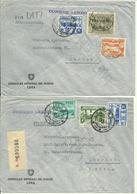 3 Air Mail Letters To Zürich, One Registered & One With Lati - Pérou