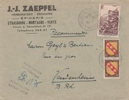 Env Reco Affr Y&T 757 X 2 + 763 Obl STRASBOURG MONTAGNE VERTE Du 4.1.47 Adressée à Vendenheim - Marcophilie (Lettres)