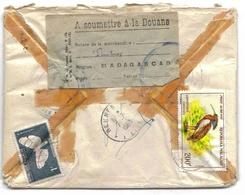 Madagascar Lettre Recommandée Diego-Suarez 1963 Douanes Ambulant Ferroviaire Oiseaux Bird Papillon Butterfly - Madagascar (1889-1960)