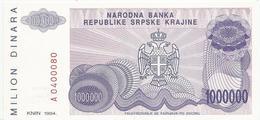 Croatia Knin Krajina 1.000.000 Dinara 1994. UNC   P - R33 - Croatia