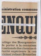 Tramways Bruxellois - Affiche De La Commune D'Anderlecht Pour La Demane D'une Ligne Vicinale De Bruxelles à Enghien - Posters