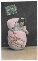 Paques Femme Sortant D' Un Oeuf Avec Ajoutis Dorure Joyeuses Paques Edition NPG 1075/2 - Pâques