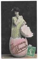 Paques Femme Sortant D' Un Oeuf Avec Ajoutis Dorure Joyeuses Paques Edition NPG 1075/4 - Pâques