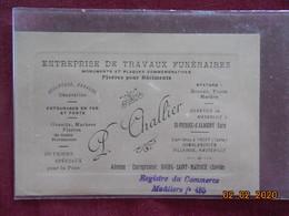 Carte De Visite - Bourg-Saint-Maurice - Entreprise De Travaux Funéraires L. Challier - Cartes De Visite