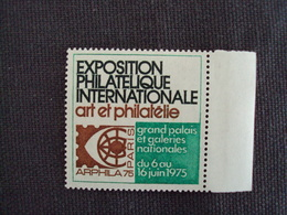 """FRANCE - Erinnophilie, """" Salon Expo. Internat. Du 6 Au 16 Juin 1975- Vert"""" Bord De Feuille- Neuf ++   - Net  1  Photo  1 - Erinnophilie"""