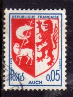 FRANCE FRANCIA 1966 ARMOIRIES COAT OF ARMS STEMMA AUCH CENT. 5c 0.05f USATO USED OBLITERE' - Usati
