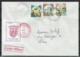PLI GRÈVE DE 1988 4F DE LYON SUR LETTRE POUR MILAN - Huelga