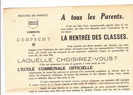 Commune De Dampremy  1952 - Old Paper
