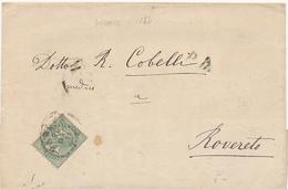 1874 PADOVA CERCHIO SEMPLICE X ROVERETO 0,05 CENT ISOLATO - Storia Postale