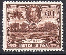 British Guiana GV 1934-40 60c Red-brown Victoria Regina Lilies Definitive, Hinged Mint, SG 297 - Guayana Británica (...-1966)