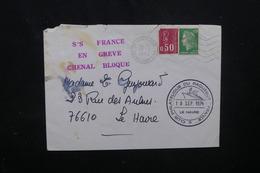"""FRANCE - Cachet """" SS France En Greve Chenal Bloqué """" Sur Enveloppe De Harfleur Pour Le Havre En 1974  - L 52067 - Marcophilie (Lettres)"""