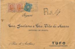 1900 PALMA CAMPANIA CASERTA TONDO RIQUADRATO CON TESTO SU RACCOMANDATA UMBERTINA - 1878-00 Umberto I