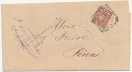 1898 PENNE TERAMO ABRUZZO TONDO RIQUADRATO CON TESTO DA MONTEBELLO DI  BERTONA - 1878-00 Umberto I