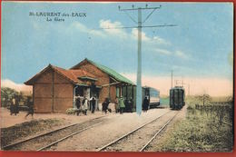 ST-LAURENT Des EAUX- Loiret- La Gare Trains- Voyageurs- Cpsm Voyagée 1929-Scans Recto Verso-Paypal Sans Frais - France