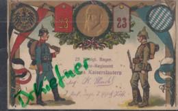 LITHOGRAPHIE: 23. Königl.Bayer. Infanterie-Regiment, Gruss Aus Kaiserslautern, Pfalz, Um 1912, Zwei Landser Mit Flaggen - Régiments