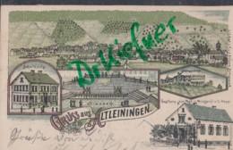 LITHOGRAPHIE: Gruss Aus Altleiningen, Pfalz, Um 1899, Dorfansicht, Schulhaus, Brunnen, Gasthaus Zur Post, Schlossruine - Bad Duerkheim