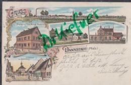 LITHOGRAPHIE: Gruss Aus DANNSTADT, Pfalz, Um 1898, Ortsansicht, Bahnhof, Gasthaus A.Mattern, Münchhof, Rathaus - Ludwigshafen
