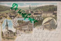 LITHOGRAPHIE: Gruss Aus ERLENBACH, Pfalz, Um 1901, Ortsansicht, Kirche, Schule, Gasthaus V. Jak. Korn, PosthilfstellenSt - Kaiserslautern