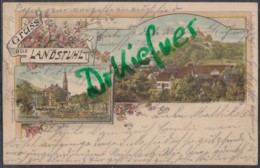 LITHOGRAPHIE: Gruss Aus LANDSTUHL, Pfalz, Um 1899, Ortsansicht, Marktplatz, Bahnpost - Landstuhl
