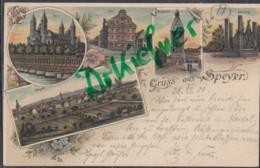 LITHOGRAPHIE: Gruss Aus SPEYER, Pfalz, Um 1900, Stadtansicht, Dom, Post, Altpörtel, Ölberg - Speyer