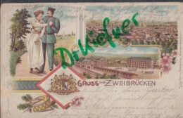 LITHOGRAPHIE: Gruss Aus ZWEIBRÜCKEN, Pfalz, Um 1902,  Stadtansicht, Kaserne, Soldat Mit Frau, Pauke Und Trompete - Zweibruecken