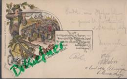 LITHOGRAPHIE: Gruss Vom Schützenfest LANDAU, Pfalz, Um 1898, Gut Ziel!, Schütze, Büchse, Armbrust, Festgelände - Landau