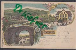 LITHOGRAPHIE; Gruss Aus HÖNINGEN, Pfalz, Um 1903, Ortsansicht, Wirtschaft Und Jagdschloss, Tor, Posthilfsstelle-Stempel - Bad Duerkheim