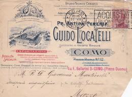 BUSTA VIAGGIATA - REGNO - COMO - GUIDO LOCATELLI -FABBRICA CANDELE OLII DA LAMPADE-VIAGGIATA PER MAZZO DI VALTELLINA - Storia Postale