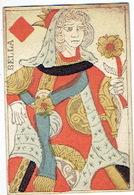 CARTE A JOUER ANCIENNE XVIII ème 18 ème Playing Card - Dame De Carreau - Cartes à Jouer Classiques