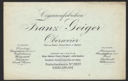 CIGARENFABRIKEN * FRANZ GEIGER * OBERWEIER * 1914 * 2 SCANS - Publicité