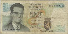 Billet De Banque  Belgique  20 Francs  Annee 1964 - Belgio