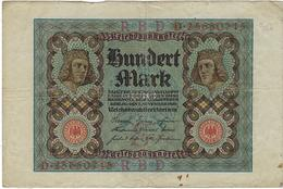 Billet De Banque Allemagne  Valeur 100  Marks  Berlin 1920 Reichsbanknote - [ 3] 1918-1933 : República De Weimar