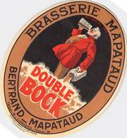 """CPA / PUBLICITE / ETIQUETTE / ALCOOL """"Bière Double BOCK, Brasserie MAPATAUD, Limoges (87)"""" - Publicité"""