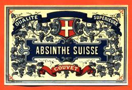 étiquette Ancienne Glaçée D'absinthe Suisse Couvet Qualité Supérieure - Autres