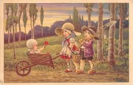 Illustrateurs - N°64079 - A. Bertiglia N°2621 - Enfants Rentrant Des Champs, Dans La Brouette Il Y A Un Bébé - Bertiglia, A.