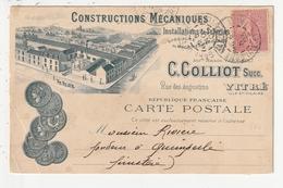 CARTE PUBLICITAIRE - VITRE - CONSTRUCTIONS MECANIQUES / INSTALLATIONS DE SCIERIES - C. COLLIOT - RUE DES AUGUSTINS - 35 - Vitre