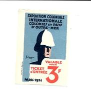 KB1175 - VIGNETTE EXPOSITION COLONIALE INTERNATIONALE PARIS 1931 - Erinofilia
