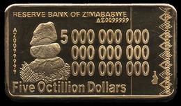 Zimbabwe 5 Octillion Dollars 24K Gold-Plated Bullion Bar - Zimbabwe