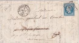 N° 14B S / L Complète Avec Texte PC 647 + T 15 Castres-s-l' Agout 5 Sept 61 Pour Villefranche, Verso T 22 Villefranche - Postmark Collection (Covers)
