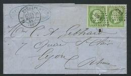Lettre France 1853-60 Emission Empire Napoléon III Non Dentelé Avec Pair 5c Vert No12. CS1 + 1528 Lettres Romain - Marcophilie (Lettres)