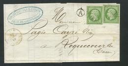 Lettre France 1853-60 Empire Napoléon III Non Dentelé 5c (2) Vert-jaune No12a. De Roquecourbe (GC 3199) à Roquecourbe - 1849-1876: Période Classique