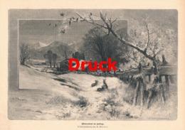 1702 Püttner Winterabend Gebirge Bergdorf Druck 1885 !! - Stampe