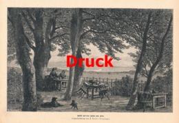 1703 Keller-Lenzinger Kiel Hafen Gaststätte Hunde Druck 1885 !! - Stampe