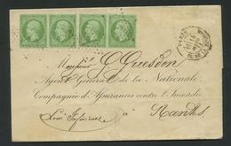 Lettre France 1862 Emission Empire Napoléon III Dentelé 5c Vert No20 (2 Paires). Paris Pl. De La Bourse Etoile 1 - 1849-1876: Période Classique