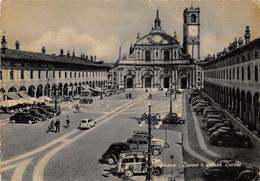 """6519 """" VIGEVANO-DUOMO E PIAZZA DUCALE """"ANIMATA-AUTO ANNI '50 - CART. POST. ORIG. SPEDITA 1956 - Vigevano"""