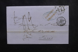 PEROU - Lettre De Lima Pour Paris En 1852 Via Panama, Cachet D'entrée Par Calais - L 52144 - Peru