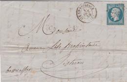 N° 14A S / L Complète Avec Texte PC 33 + T 15 Aix En Provence 1 Oct 59 Pour Sisteron - 1849-1876: Période Classique