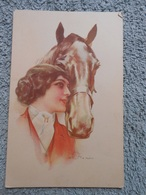 Cpa Illustrateur  Signé Femme Frau Lady Cheval Horse - Illustratoren & Fotografen