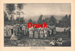 1718 Bauern Tanz Hora Tracht Kinder Rumänien Druck 1885 !! - Stampe
