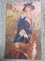 Cpa Illustrateur  Signé Femme Frau Lady Chien Dog - Künstlerkarten